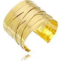 Bracelete Artesanal Faixas Lua Mia Joias - Semijoia Artesanal Folheada A Ouro 18K Feminino - Feminino-Dourado