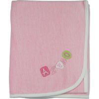 Manta Bebê Plush Ano Zero Listrado Fininho - Rosa Escuro