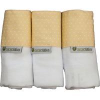 Kit Toalhinha De Boca Fralda Cuca Criativa Amarelo
