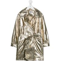 Karl Lagerfeld Kids Metallic Trench Coat - Dourado