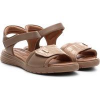 Sandália Comfortflex Papete Velcro Feminina - Feminino-Bege