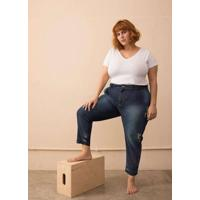 Calça Jeans Baggy Destroyed Plus Size Azul