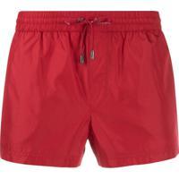 Dolce & Gabbana Shorts De Banho Com Cordão Na Cintura - Vermelho