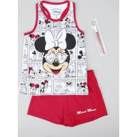 Pijama Infantil Minnie Regata + Canetinha Branco