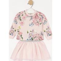 Conjunto De Blusa Floral + Saia Evas㪠Em Tule- Rosa Clarmylu