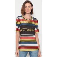 Blusa Listrada Com Logo- Amarela & Vermelha- Nectarinectarina