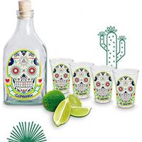 Kit Garrafa Com Rolha E 4 Copos Dose Shot Tequila Caveira Mexicana