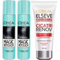 Kit 2 Corretivo Capilar Magic Retouch Preto 1 Leave-In Elseve Cicatri Renov - 50Ml - Unissex-Incolor