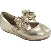 Sapato Boneca Em Couro Com Flores- Dourado- Kidskimey