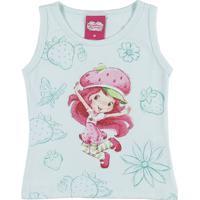 Blusa Regata Moranguinho Infantil Para Menina - Verde