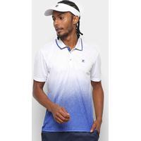 Camisa Polo Fila Aztec Box Print Masculina - Masculino-Azul Royal+Branco
