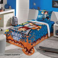 Edredom Authentic Games® Solteiro- Azul Escuro & Laranjalepper