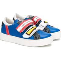 John Galliano Kids Tênis De Couro Com Velcro - Azul