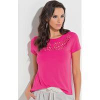 Blusa Com Recortes Vazados No Decote Pink