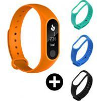 Conjunto Smartband Mafam M2 - Laranja + 3 Pulseiras Coloridas