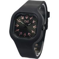 Relógio Bewatch Pulseira De Silicone Preto Setas Direção