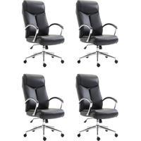 Conjunto Com 4 Cadeiras De Escritório Presidente Evergreen Preto