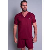 Pijama Mvb Modas Curto Verão Masculino - Masculino-Vinho