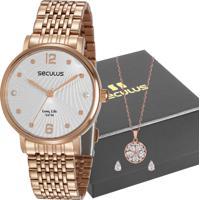 Kit Relógio Seculus Feminino Com Colar 28969Lpsvra2K1