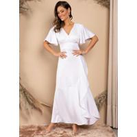 Vestido Longo Branco Com Babados