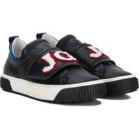 John Galliano Kids Tênis De Couro Com Velcro - Preto