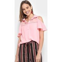Blusa Chic Up Off Shouder Tule Bordado Feminina - Feminino-Rosa