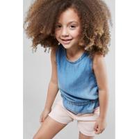 Blusa Infantil Jeans Laço Reserva Mini Feminina - Feminino-Azul Claro