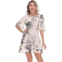 Vestido Clara Arruda Curto Ombro Recorte Feminino - Feminino-Rosa Claro