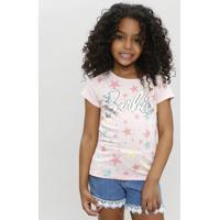 Blusa Infantil Barbie Com Estampa De Estrelas Manga Curta Decote Redondo Rosê