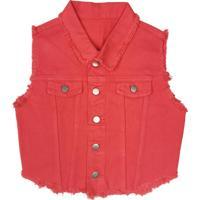Colete Coleteria Jeans Cropped Vermelho