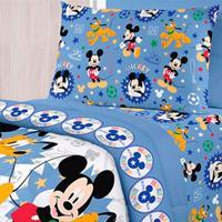 Jogo De Cama Solteiro Mickey Happy Azul Santista