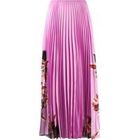 Valentino Saia Com Pregas E Estampa Floral - Rosa