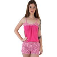 Pijama Linha Noite De Malha Feminino - Feminino-Pink