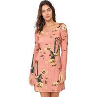Vestido Lez A Lez Curto Floral Rosa/Amarelo