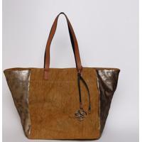 3f182306d Bolsa Em Sarja Com Recorte - Bege Escuro & Dourada -Fedra
