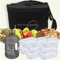 Kit Bolsa Térmica Tipo Keeppack Preta + Mini Galão Água Preta + 8 Refeições Rythmoon - Unissex