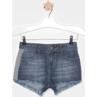 Short Jeans Com Recortes- Azul Escurocolcci