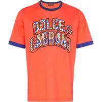 Dolce & Gabbana Paisley 3D Font Logo T-Shirt - Laranja