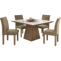 Conjunto De Mesa Pietra 0.90M Com Vidro Serigrafado Branco Com 4 Cadeiras Granda Castanho Tecido Veludo Pena Caramelo Lj Móveis