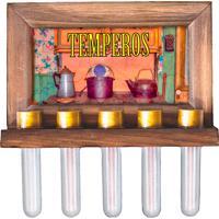 Porta Tempero Vintage Concept Estampa Fogão A Lenha Marrom