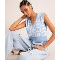 Colete Cropped De Tricô Estampado Xadrez Floral Gola V Azul Claro