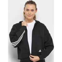 Jaqueta Adidas Mh 3S Dk Hd Feminina - Feminino-Preto+Branco