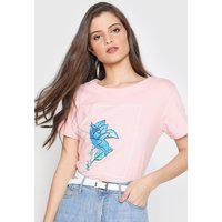 Camiseta Polo Wear Floral Rosa