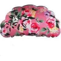 Presilha Acrílico Ania Store Floral Feminina - Feminino-Rosa