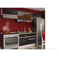 Cozinha Modulada Completa 4 Módulos 100% Mdf Branco/Ébano/Preto - Glamy