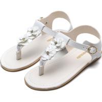 Sandália Pimpolho Menina Flores Branca