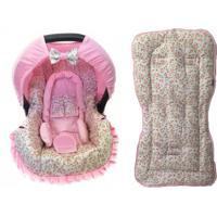 Conjunto Capa Para Bebê Conforto Com Acolchoado Extra E Capa De Carrinho Floral Alan Pierre Baby 0 A 13 Kg Rosa Com Bege