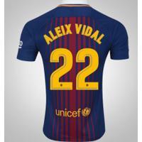 Camisa Do Barcelona I 17/18 Nº 22 Aleix Vidal - Masculina - Azul Escuro