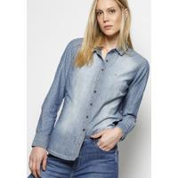 Camisa Jeans Com Bordado & Recortes - Azul Claro & Off Wdudalina