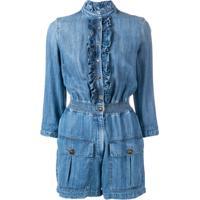 Elisabetta Franchi Macacão Jeans Com Babado - Azul